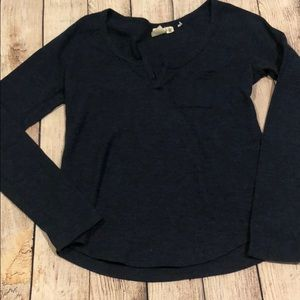Navy Long Sleeve Top with Pocket